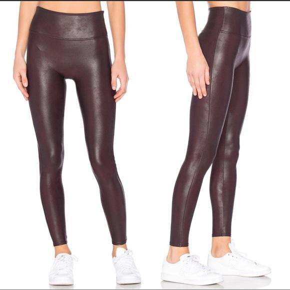 SPANX Faux Leather Leggings, Wine, Medium